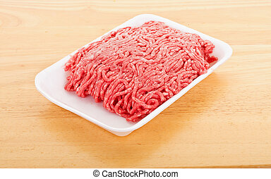 Fresh Ground Beef in Polystyrene Tray - Fresh ground beef in...