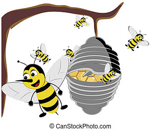 Illustration of a quot;Bizzyquot; Beehive - Beehive, broken...
