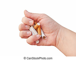 Hand broking various cigarettes. Give up smoking concept