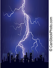 Lightning strikes in big city - Lightning strikes and rain...