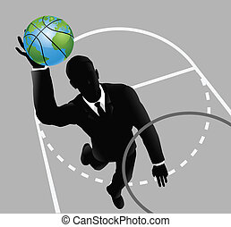 Business man slam dunking basketball