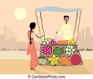 street vendor - an illustration of an asian street vendor...