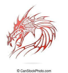 asia dragon and flames sign red color isolated
