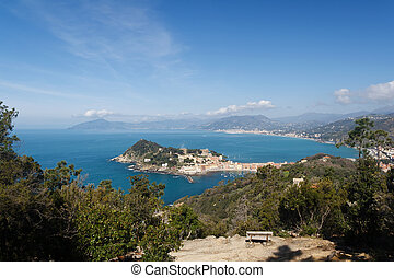 Tigullio Gulf with Sestri Levante, Italy - aerial view of...