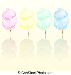 Candy floss in four different colours reflected EPS10 vector...
