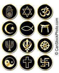 Religious symbols stickers gold on black - A set of...