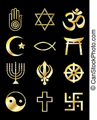 Religious symbols gold on black - A set of Religious symbols...