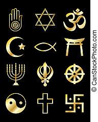 Religious symbols gold on black - A set of Religious...