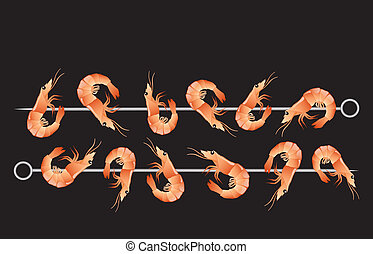 Shrimp kebabs isolated on black background. EPS10 vector...