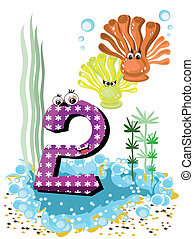 Sea animals and numbers series for kids, from 0 to 10 - 2...