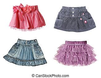 collage, cuatro, faldas