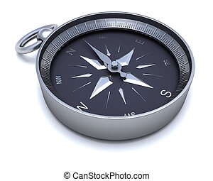 Chrome navigational compass - 3D render of a Chrome...