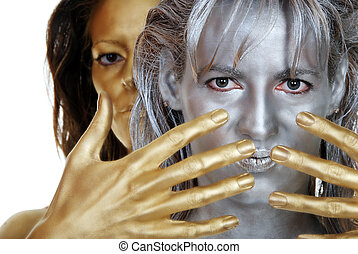 silver and gold woman