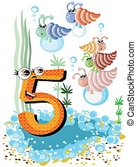 Sea animals and numbers series for kids, from 0 to 10...