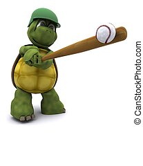Tortoise playing basball - 3D Render of a Tortoise playing...