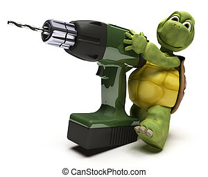Tortoise with power drill - 3D render of a Tortoise with a...
