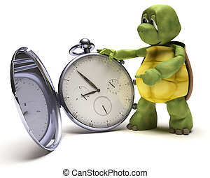 Tortoise with a classic pocket watch - 3D render of a...