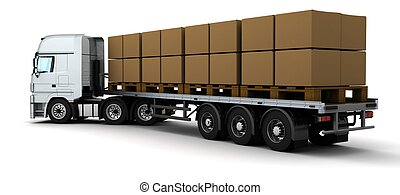 HGV Truck Shipping Cardboard Boxes - 3D Render of HGV Truck...