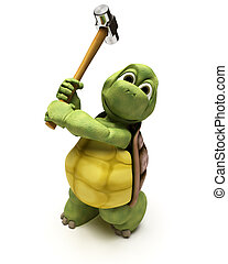 Tortoise with a sledge hammer