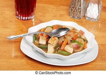 top view chicken stew
