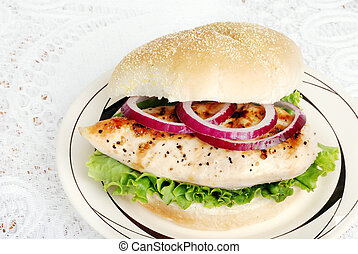 top view grilled chicken sandwich - closeup top view grilled...
