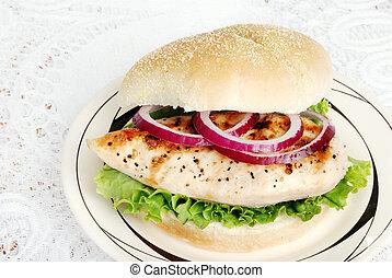top view grilled chicken sandwich