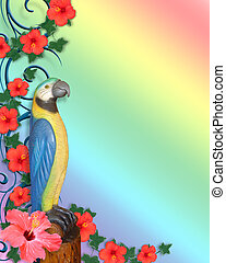 Luau Parrot head background image and illustration...