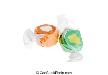 two pieces of salt water taffy - isolated two pieces of salt...