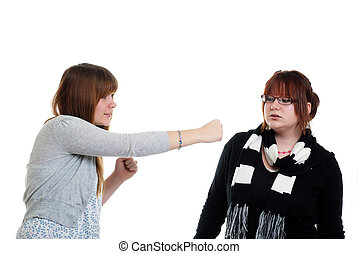 Two Sisters fighting - isolated Two Sisters fighting
