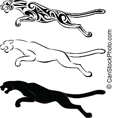 Jaguar tattoo art and silhouette