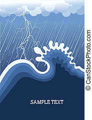 Storm in ocean with big wave.Vector illustration