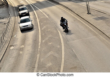 highway motorcycle and cars - highway motorcycle cars