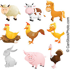 Farm animals - A vector illustration of a group of farm...