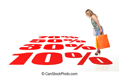 shopping - standing woman with shopping bag and 3d...