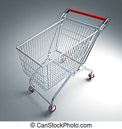 supermarket trolley - fine 3d image of classic supermarket...