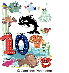 Sea animals and numbers series for kids, from 0 to 10 -,10