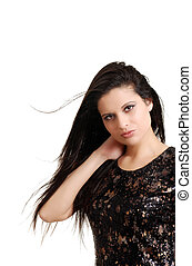 hispanic woman with hair blowing - isolated young hispanic...