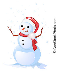 Happy snow man - Image shows a smiling snow man, isolated...