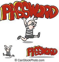 Stealing Password - An image of a man stealing a password