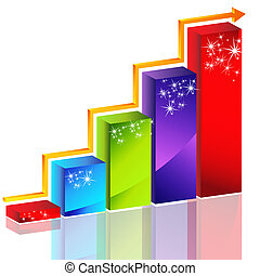 Sparkling Bar Chart - An image of a sparkling 3d bar chart...