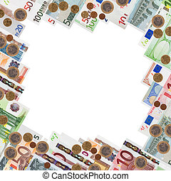 Frame from many euro banknotes