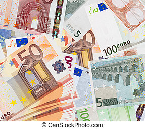 Background of euro banknotes - five banknotes over...