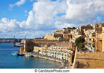 View of old Valletta and Grand Harbour Malta