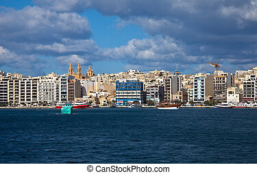 View of Sliema and boats in Sliema Creek Malta