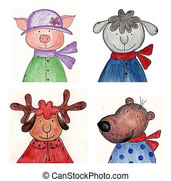 Pets - Handmade illustratration - Water colors on paper