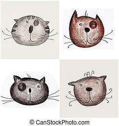 Cats - Handmade illustration - Water colors on paper
