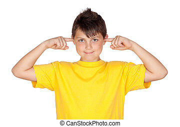 Funny child with yellow t-shirt covering ears