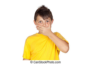 Funny child with yellow t-shirt covering the mouth