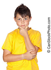 Pensive child with yellow t-shirt