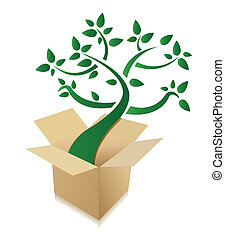 box abstract green tree